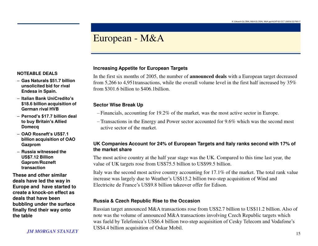 K:\Utkarsh\GLOBAL M&A\GLOBAL M&A.ppt\A2XP\03 OCT 2005\6:52 PM\17