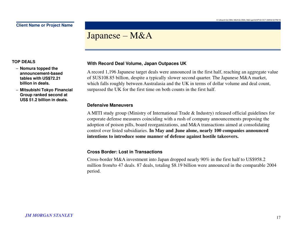 K:\Utkarsh\GLOBAL M&A\GLOBAL M&A.ppt\A2XP\03 OCT 2005\6:52 PM\19