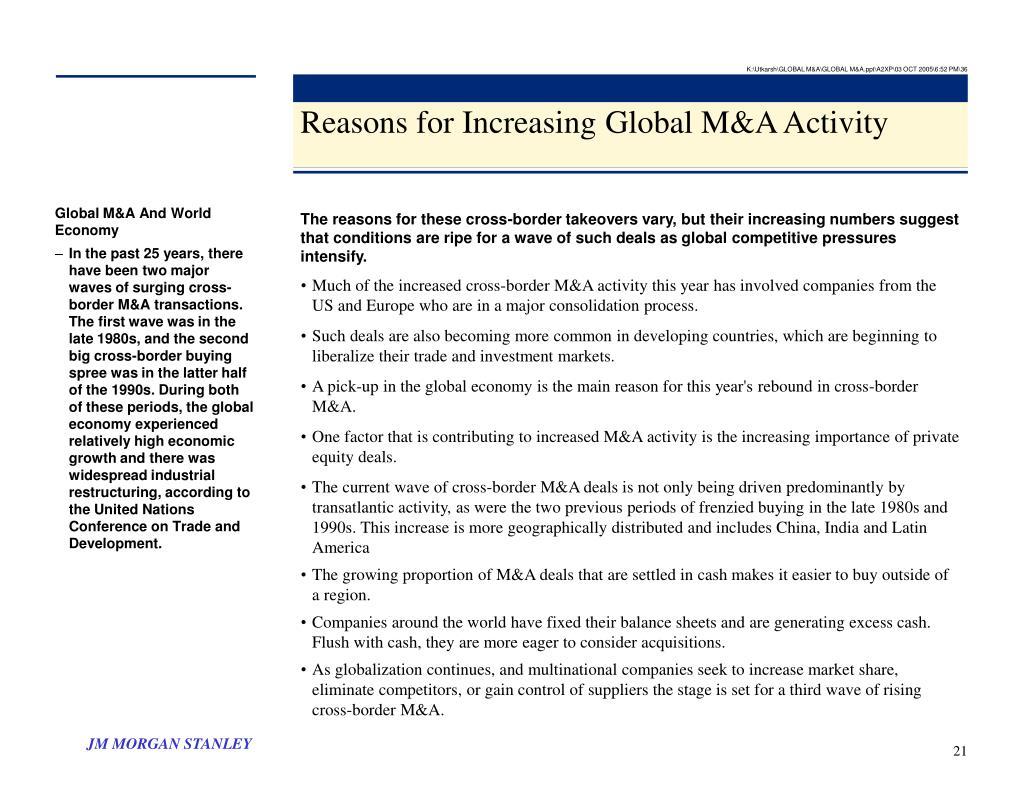 K:\Utkarsh\GLOBAL M&A\GLOBAL M&A.ppt\A2XP\03 OCT 2005\6:52 PM\36