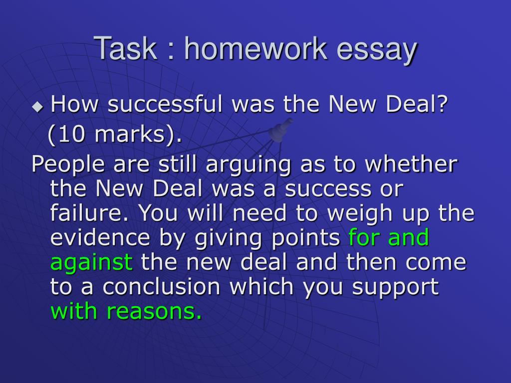 Task : homework essay