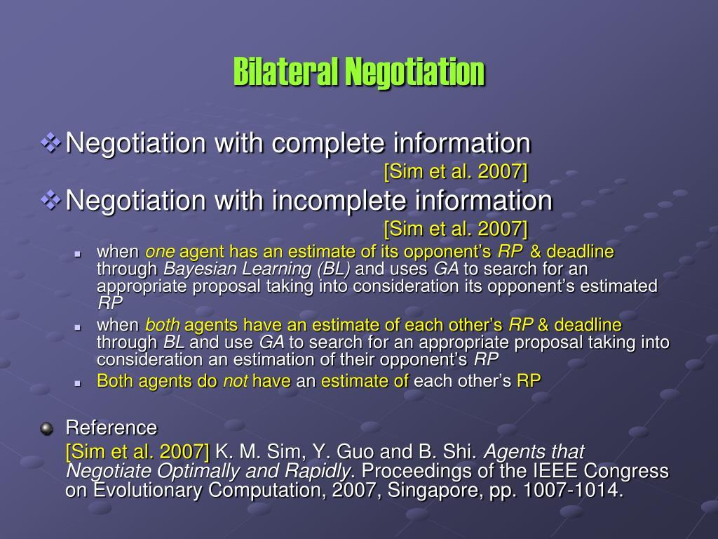 Bilateral Negotiation