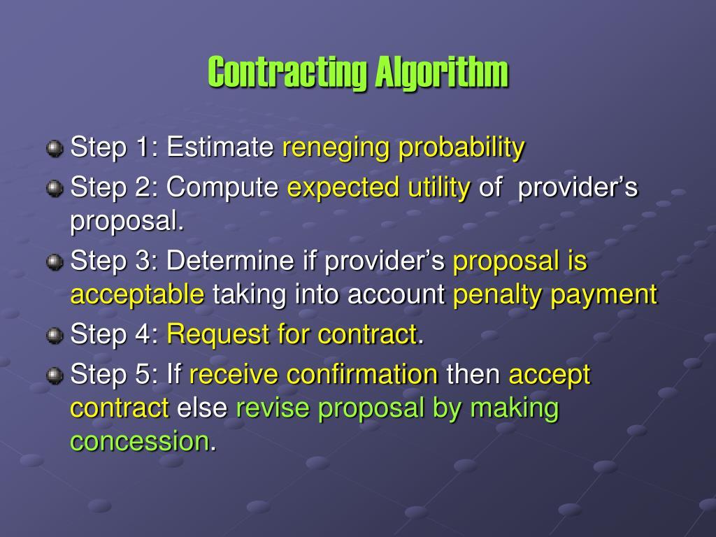 Contracting Algorithm