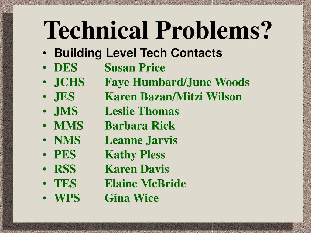 Technical Problems?