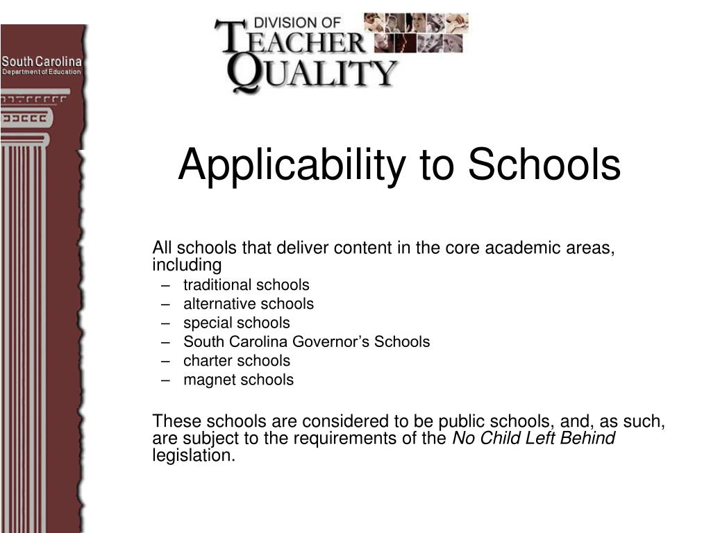 Applicability to Schools