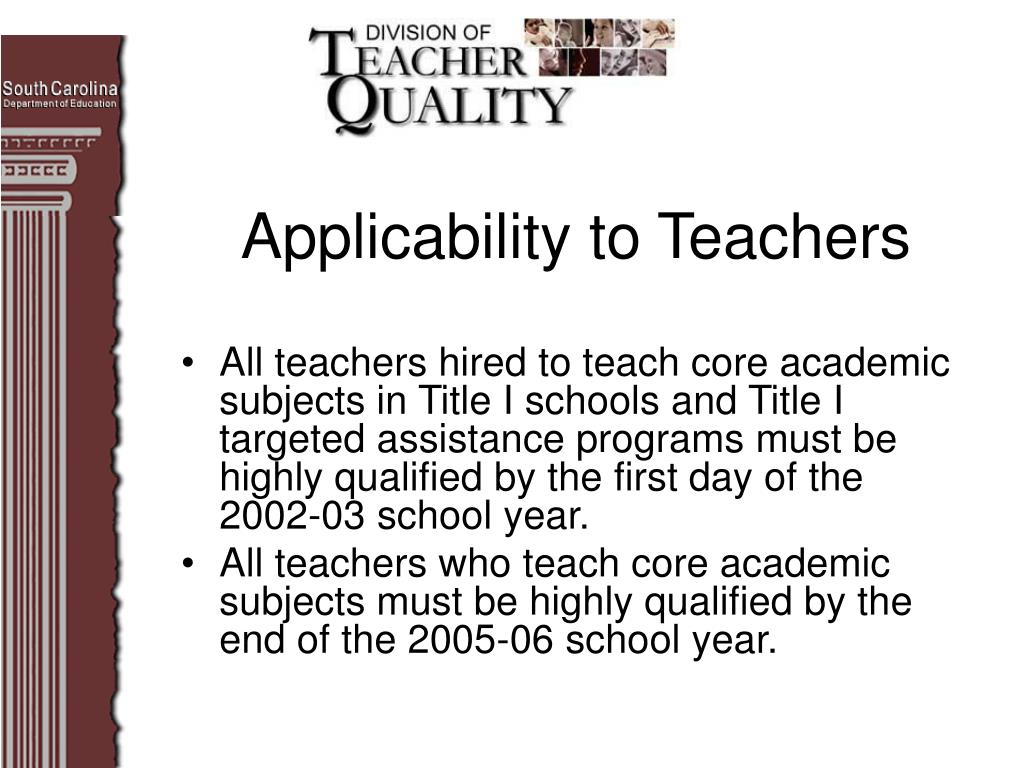 Applicability to Teachers