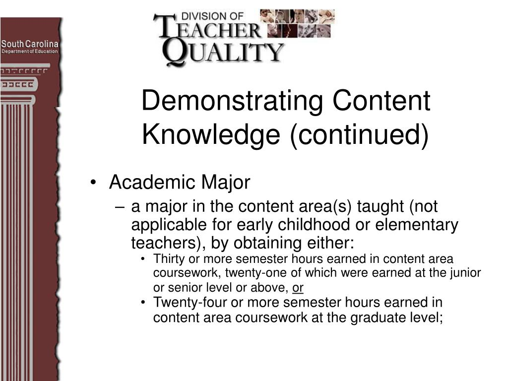 Demonstrating Content Knowledge (continued)