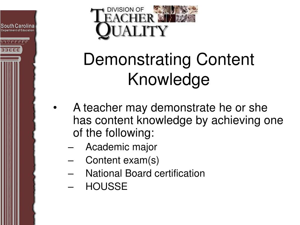 Demonstrating Content Knowledge