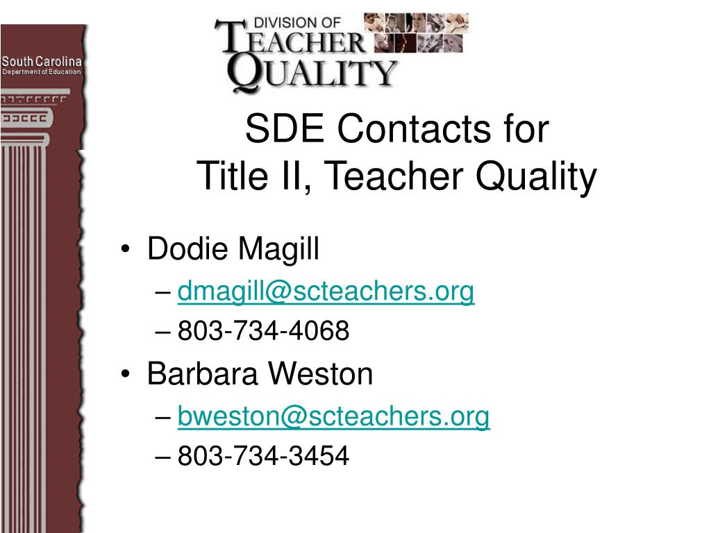 SDE Contacts for