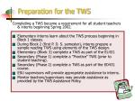 preparation for the tws