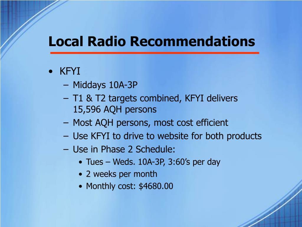 Local Radio Recommendations