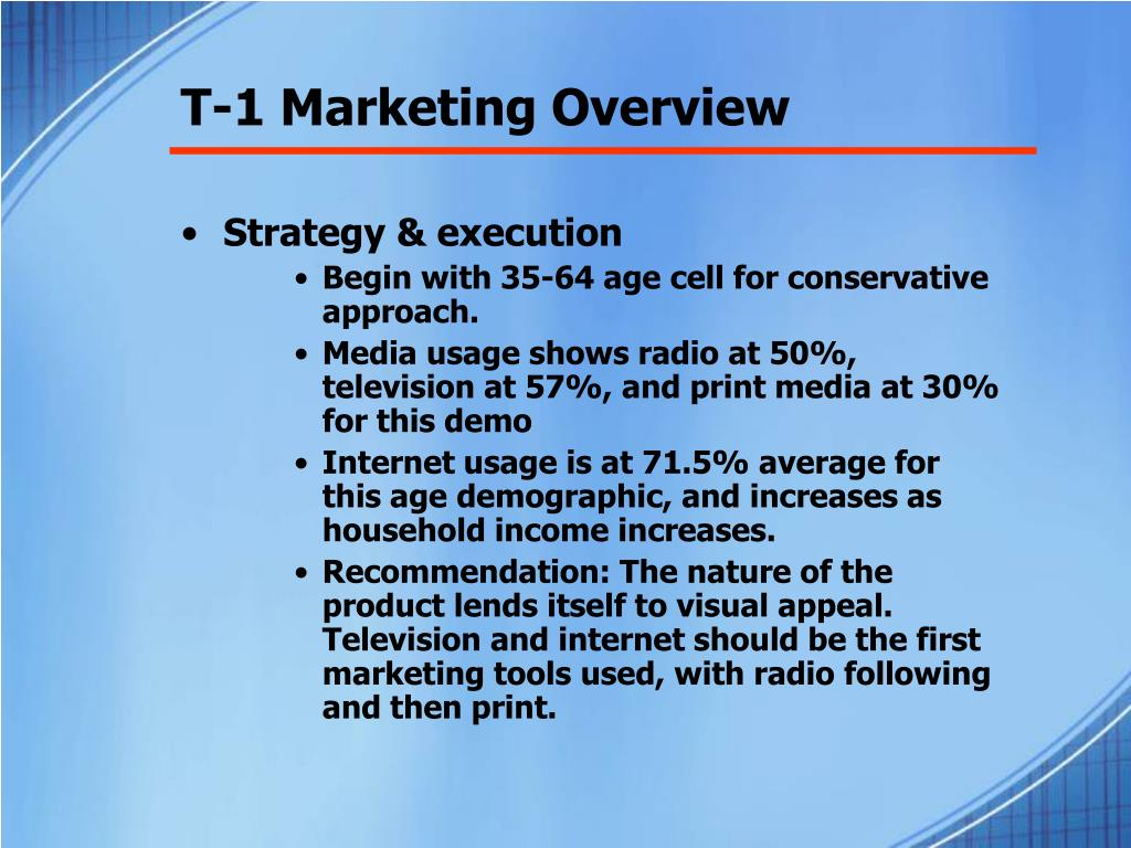 T-1 Marketing Overview