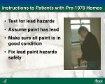 instructions to patients with pre 1978 homes