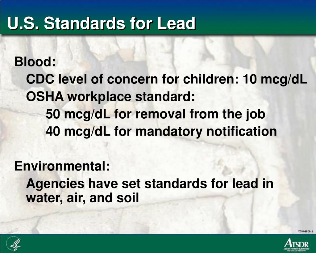 U.S. Standards for Lead