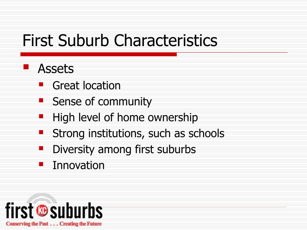 First Suburb Characteristics