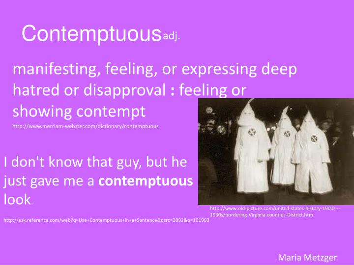 how to use contemptuous in a sentence