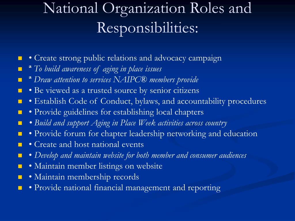 National Organization Roles and Responsibilities: