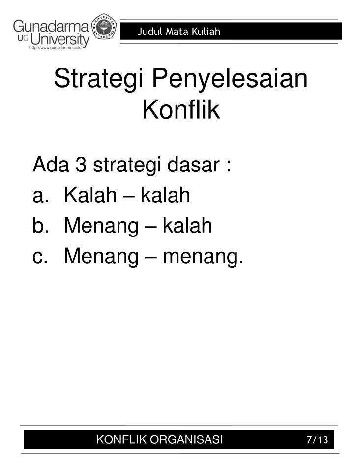 Strategi Penyelesaian Konflik