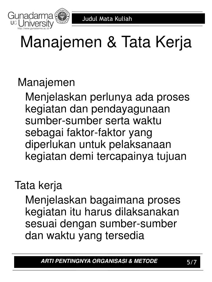 Manajemen & Tata Kerja