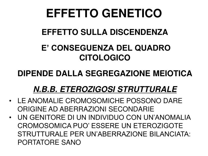 EFFETTO GENETICO