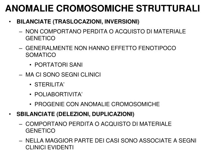 ANOMALIE CROMOSOMICHE STRUTTURALI