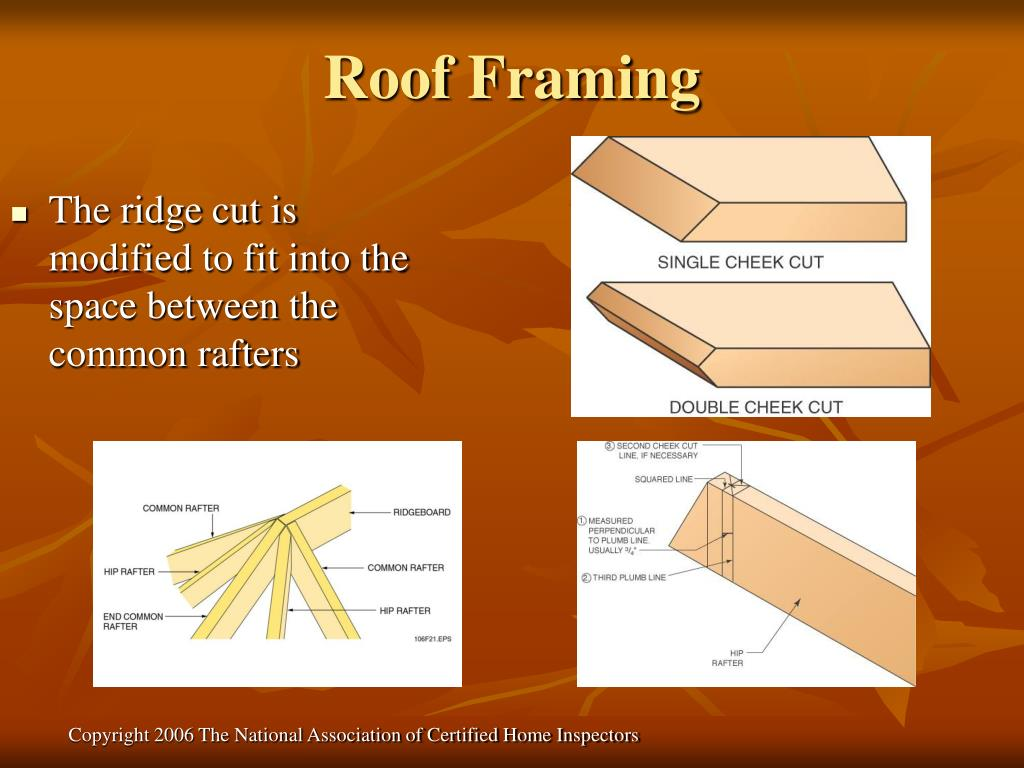 The ridge cut is modified to fit into the space between the common rafters