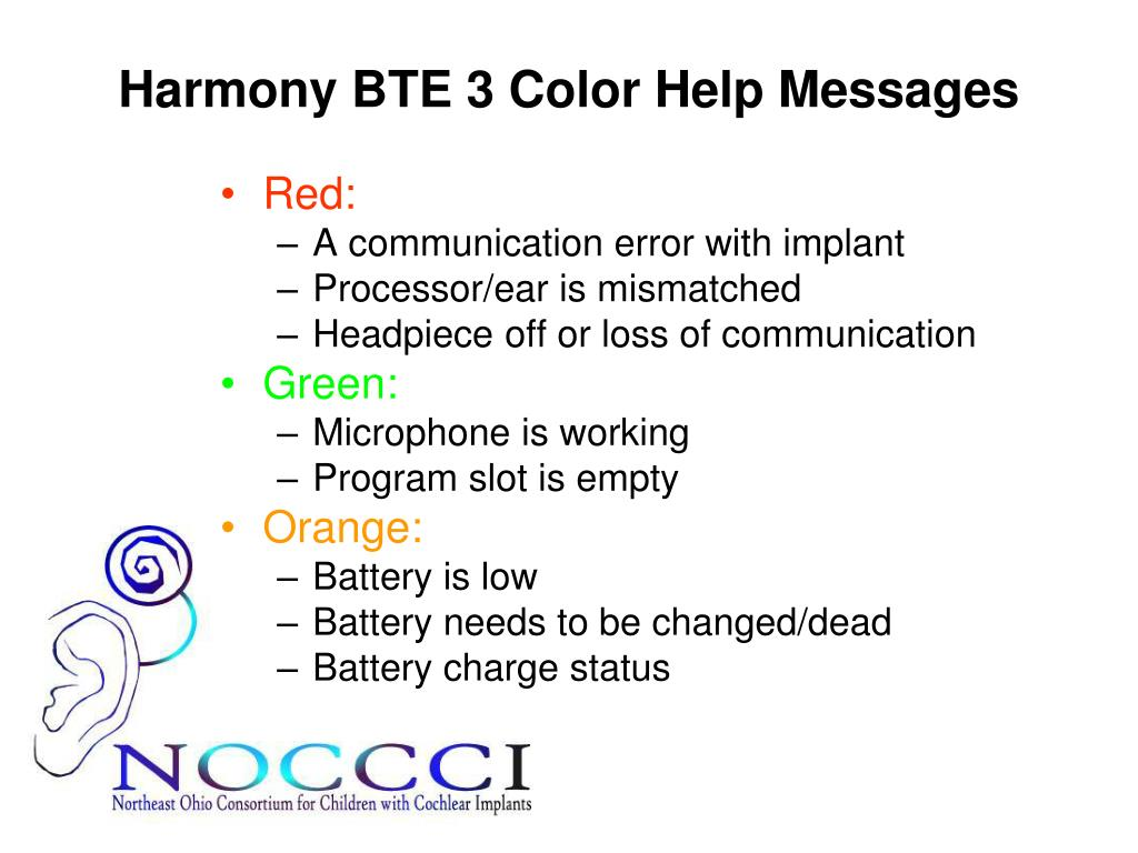 Harmony BTE 3 Color Help Messages