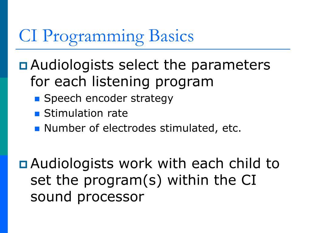 CI Programming Basics