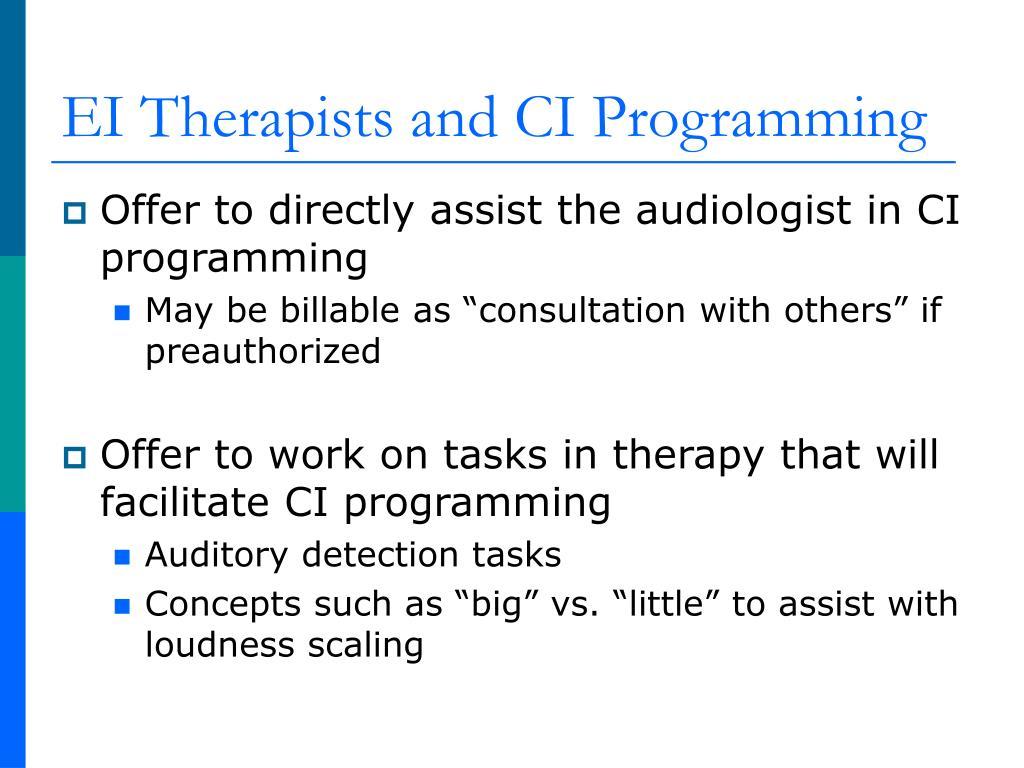EI Therapists and CI Programming