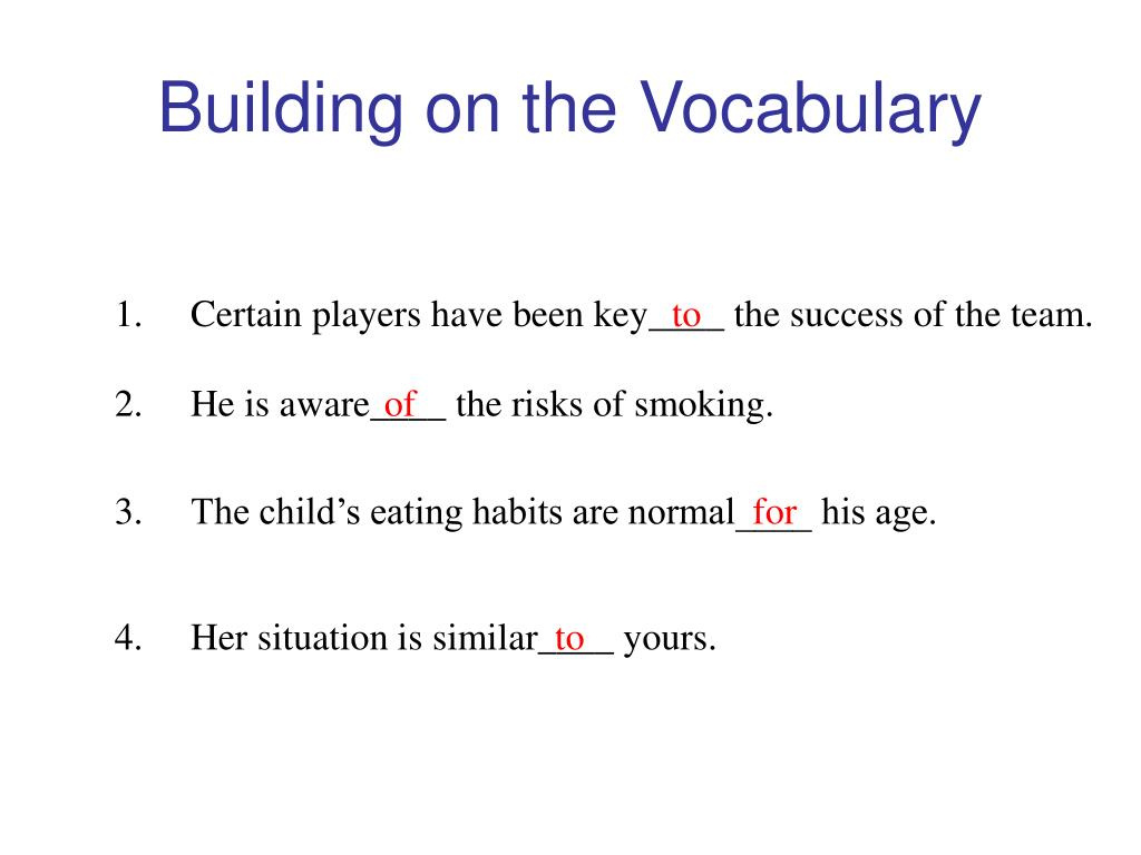 Building on the Vocabulary