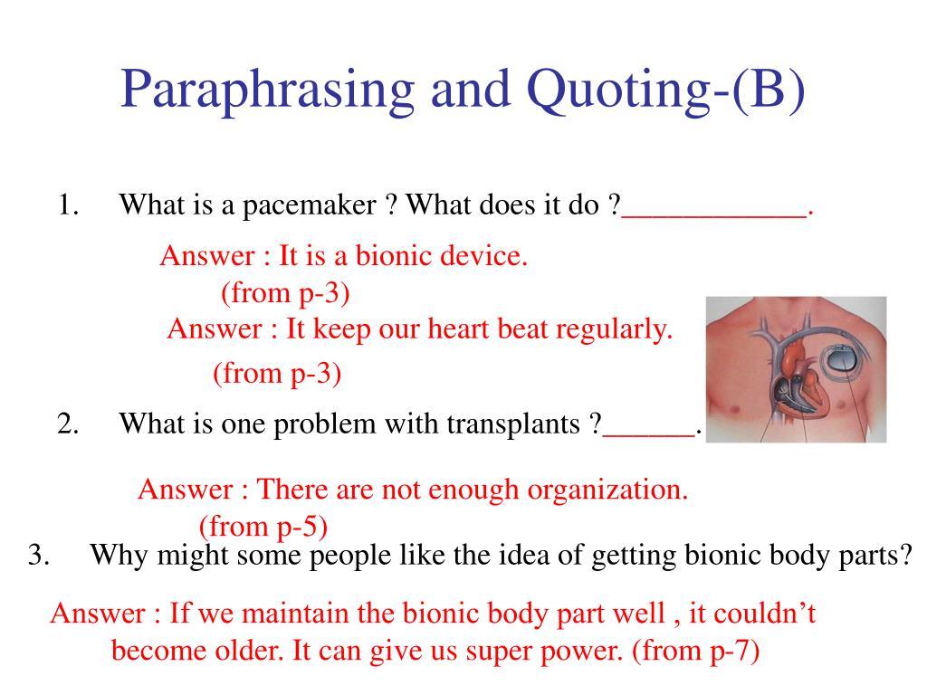 Paraphrasing and Quoting-(B)
