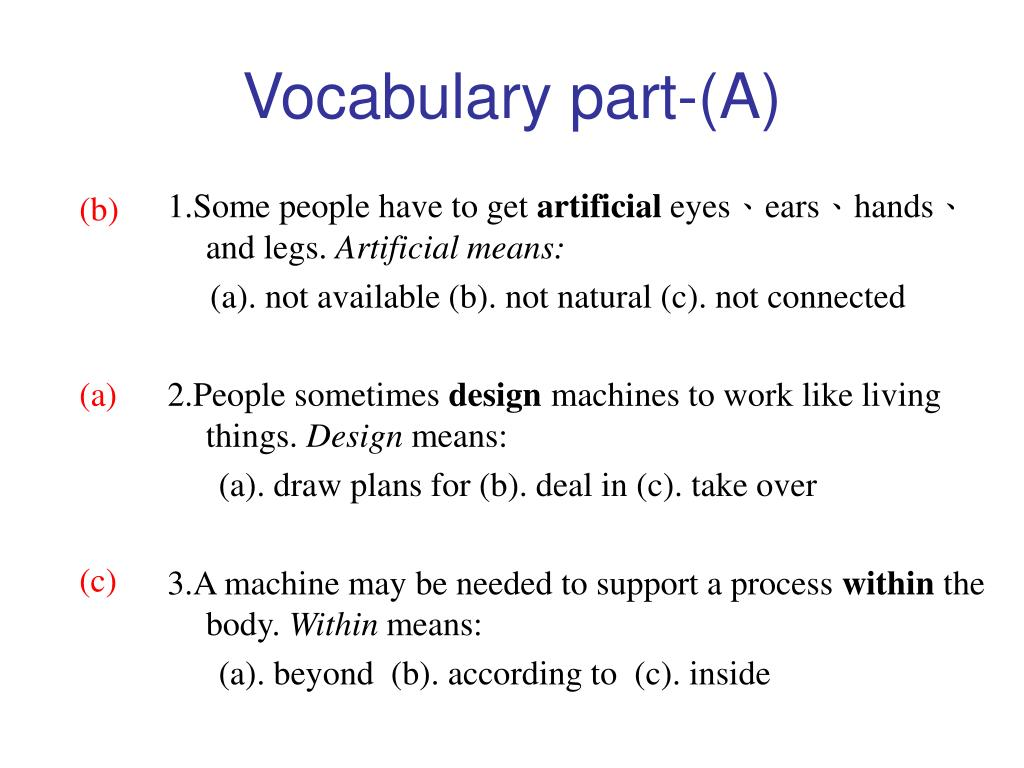 Vocabulary part-(A)
