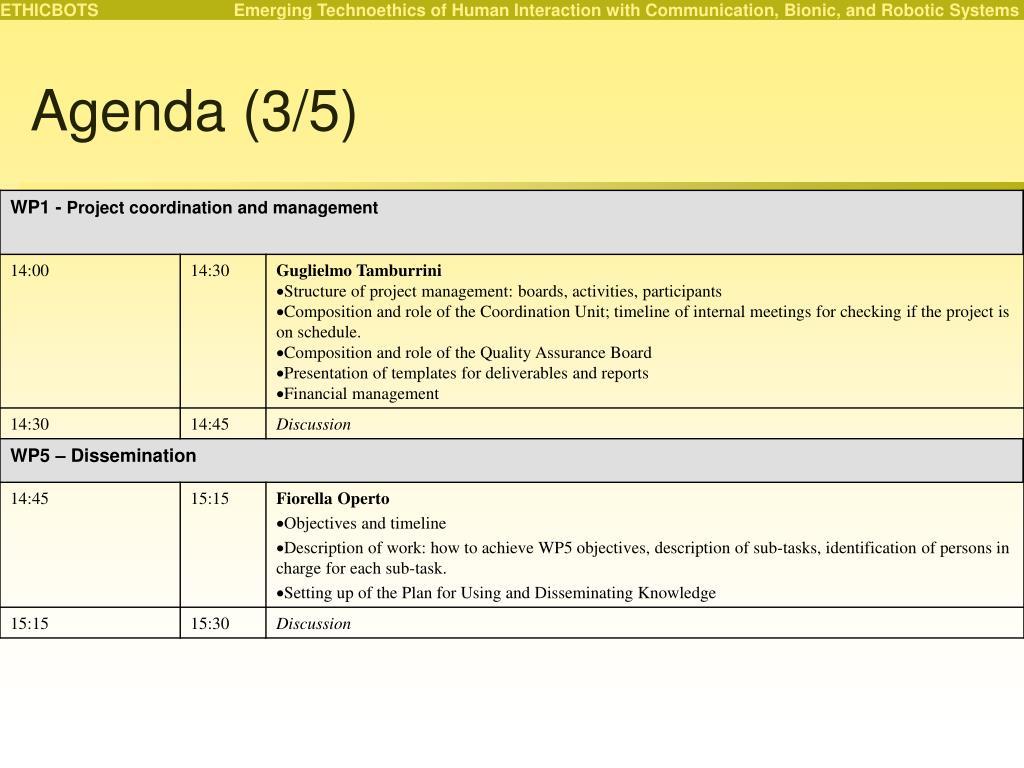 Agenda (3/5)