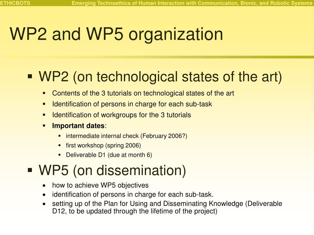 WP2 and WP5 organization