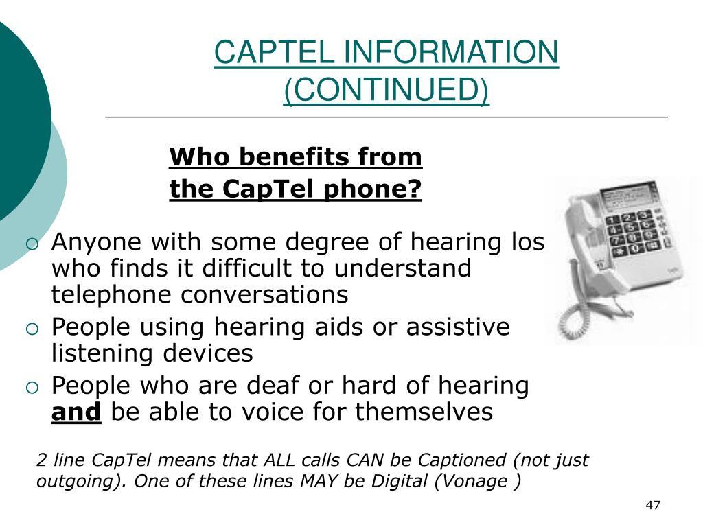 CAPTEL INFORMATION (CONTINUED)