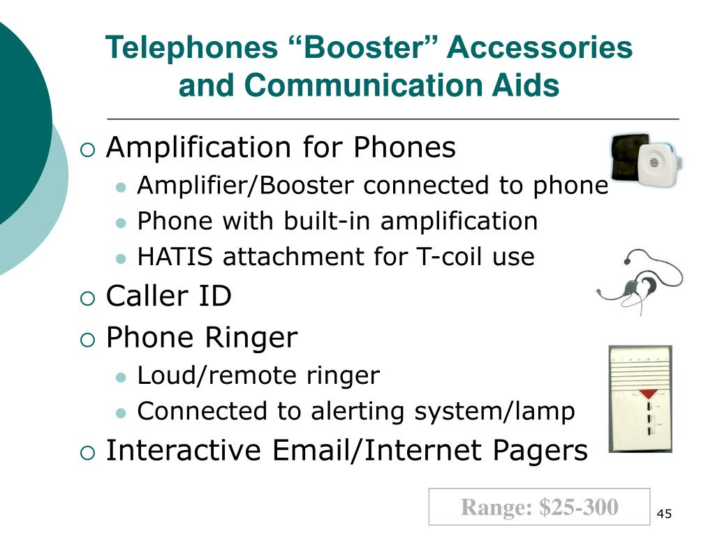 "Telephones ""Booster"" Accessories and Communication Aids"