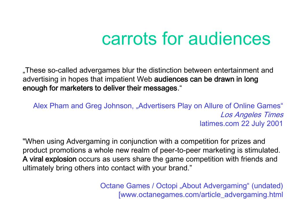 carrots for audiences