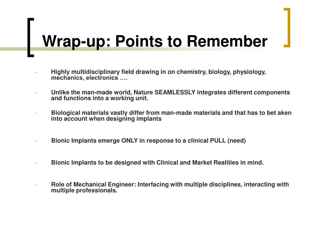 Wrap-up: Points to Remember