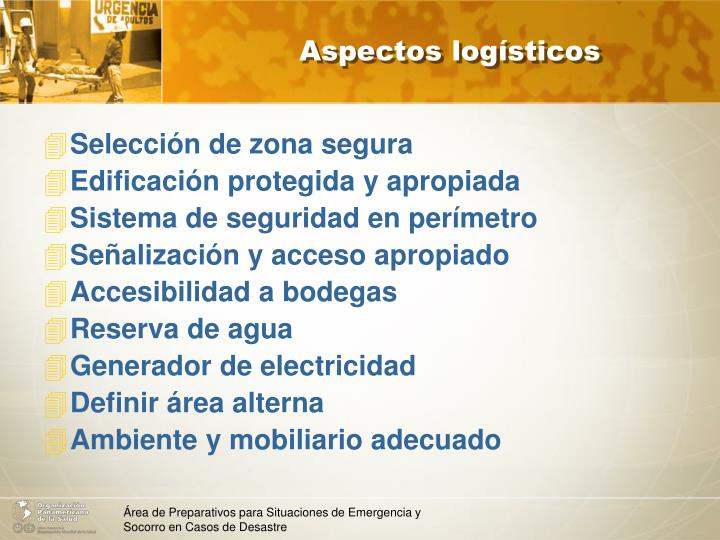 Aspectos logísticos