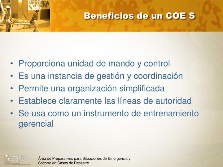 Beneficios de un COE S