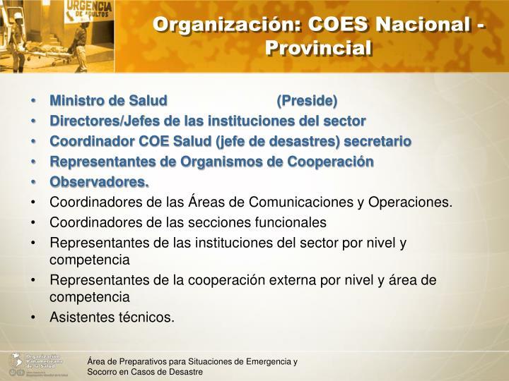 Organización: COES Nacional - Provincial
