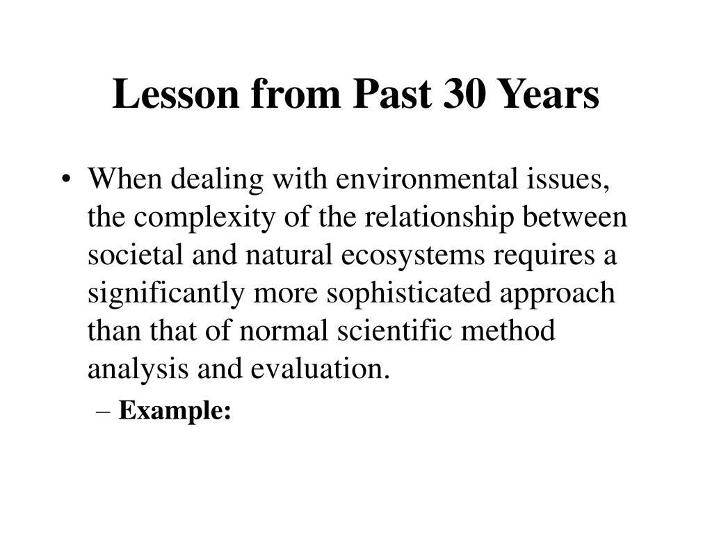 Lesson from Past 30 Years