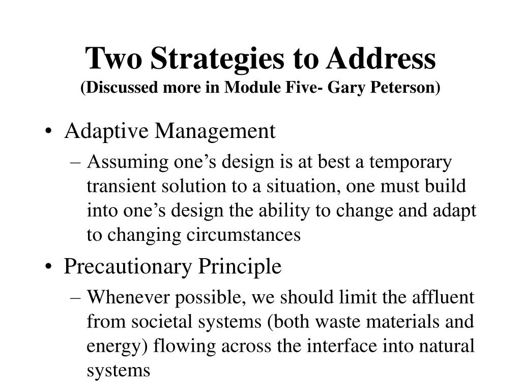 Two Strategies to Address