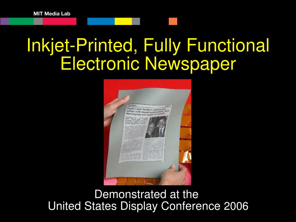 Inkjet-Printed, Fully Functional Electronic Newspaper
