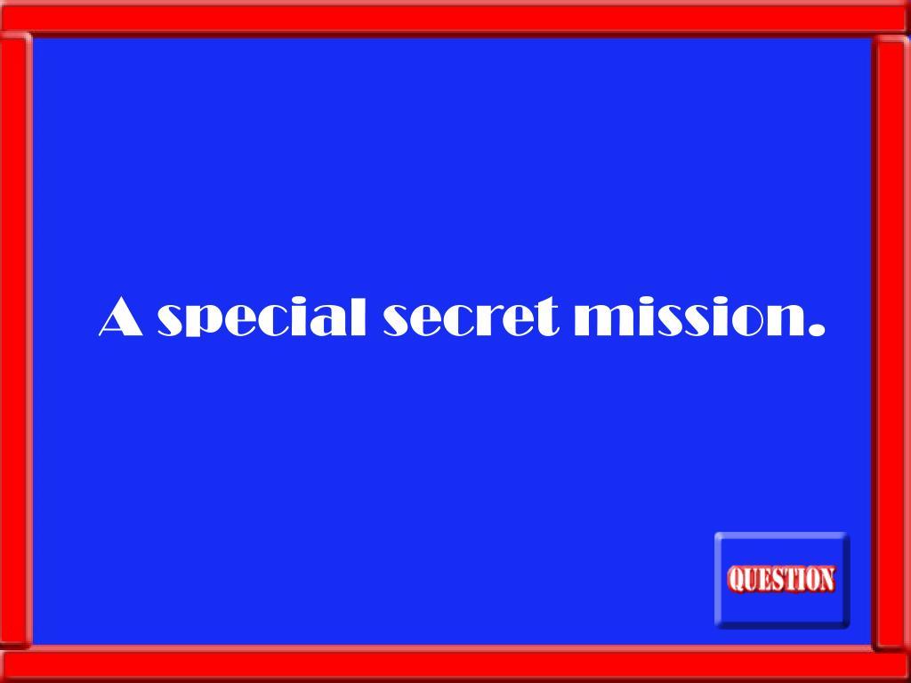 A special secret mission.
