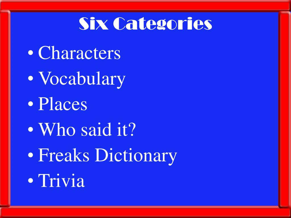 Six Categories