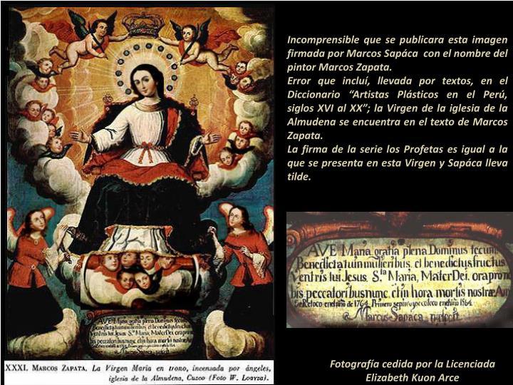 Incomprensible que se publicara esta imagen firmada por Marcos Sapáca  con el nombre del pintor Marcos Zapata.