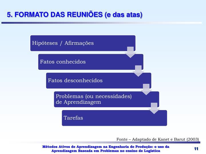 5. FORMATO DAS REUNIÕES (e das atas)
