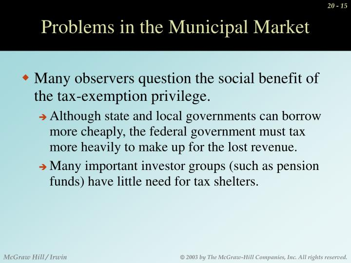 Problems in the Municipal Market