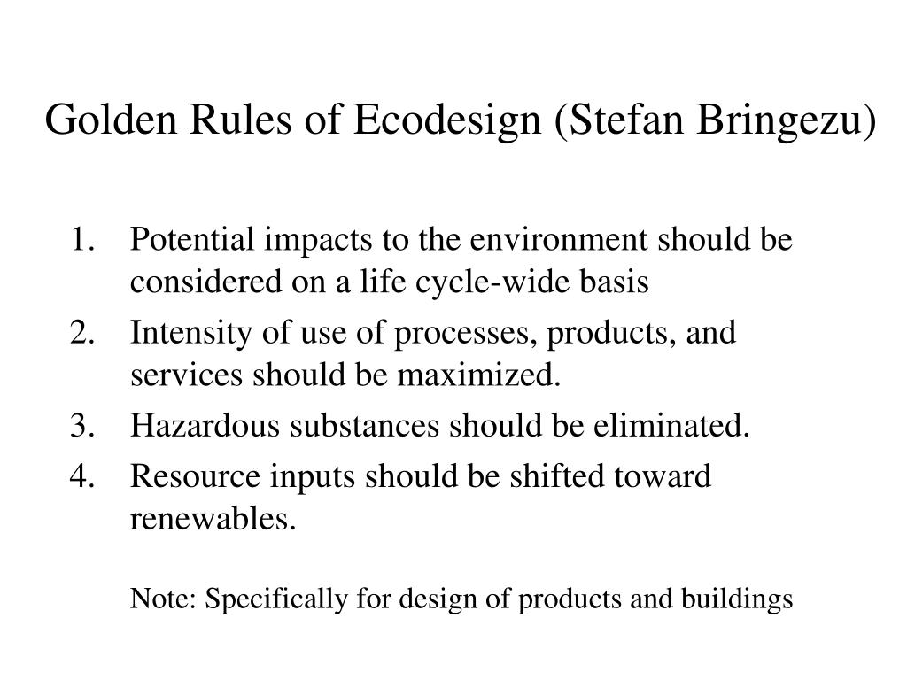 Golden Rules of Ecodesign (Stefan Bringezu)