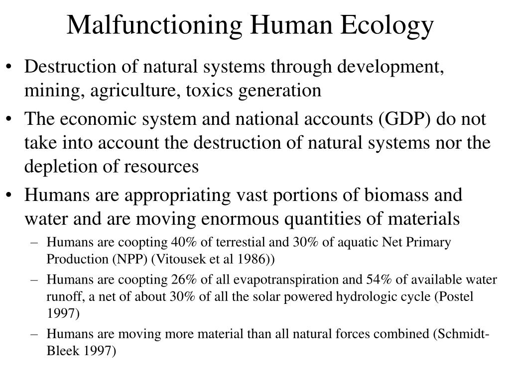 Malfunctioning Human Ecology